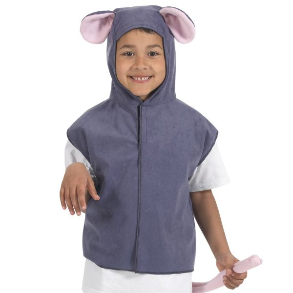 Children's Kids Boys Girls Grey Mouse Tabard Fancy Dress Up Costume